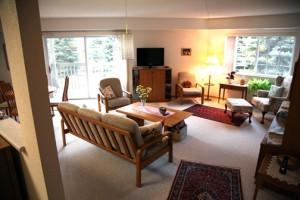Living room with diagonal sofa