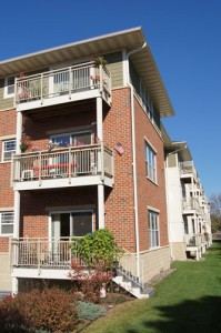 Brick exterior with balconies